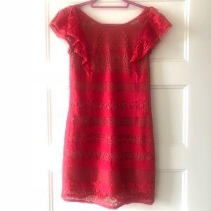 BCBGMAXAZRIA red lace dress